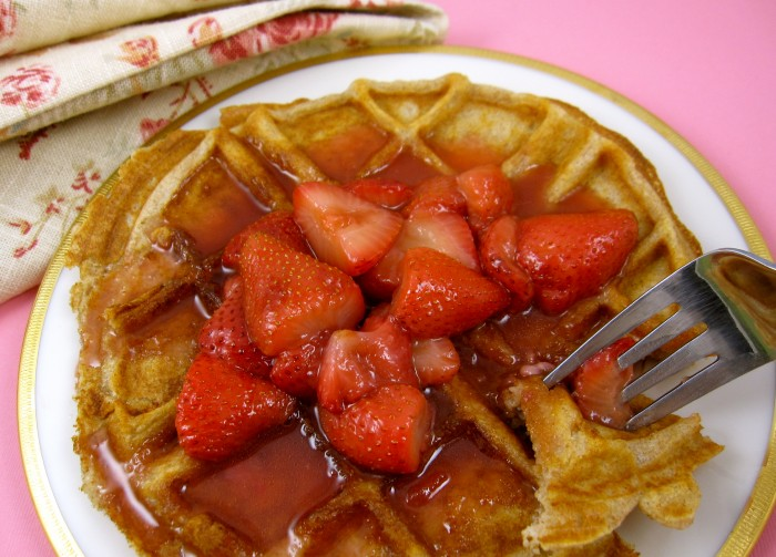 Waffles with Warm Strawberry Compote